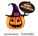 scary jack o lantern halloween... | Shutterstock .eps vector #716930881