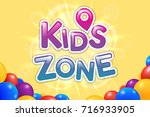 kids zone colorful banner.... | Shutterstock .eps vector #716933905