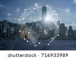communication network with... | Shutterstock . vector #716933989