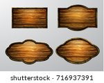 wooden signs  vector icon set | Shutterstock .eps vector #716937391