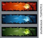 halloween colorful vector... | Shutterstock .eps vector #716942911