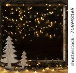 window  lights in night  fairy... | Shutterstock . vector #716943169