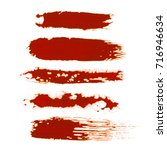 set of red watercolor wet brush ... | Shutterstock . vector #716946634