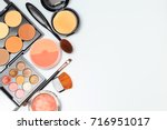 makeup products  on white... | Shutterstock . vector #716951017