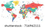 detailed world map with borders ... | Shutterstock .eps vector #716962111