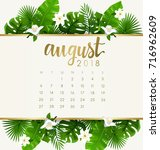 august   2018 calendar template ... | Shutterstock .eps vector #716962609