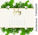 july   2018 calendar template... | Shutterstock .eps vector #716962639