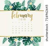 february   2018 calendar... | Shutterstock .eps vector #716962645