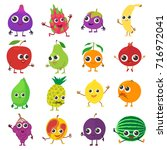 smiling fruit icons set.... | Shutterstock .eps vector #716972041