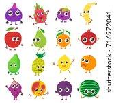 smiling fruit icons set.... | Shutterstock .eps vector #716972041