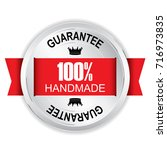 100  handmade silver badge with ... | Shutterstock .eps vector #716973835