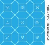 set of 9 adventure outline... | Shutterstock .eps vector #716974867