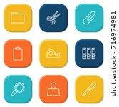 set of 9 stationery outline... | Shutterstock .eps vector #716974981
