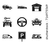 traveling to car icons set.... | Shutterstock .eps vector #716975569