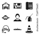 thoroughfare icons set. simple... | Shutterstock .eps vector #716975665