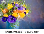 Bunch Of Anemones And Tulips O...
