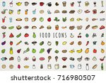 hand drawn food and drink icons ... | Shutterstock .eps vector #716980507