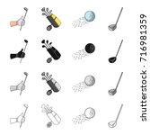 golf stick in hand  putter in...   Shutterstock .eps vector #716981359