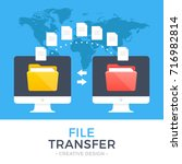 file transfer. two computers... | Shutterstock .eps vector #716982814