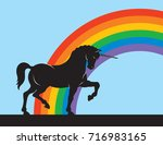 rainbow unicorn vector design... | Shutterstock .eps vector #716983165