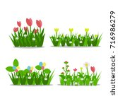 set of beautiful flower icon... | Shutterstock .eps vector #716986279
