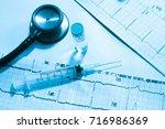 stethoscope syringe needle drug ...   Shutterstock . vector #716986369