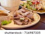 charcoal boiled pork neck  thai ... | Shutterstock . vector #716987335