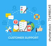 customer support flat... | Shutterstock .eps vector #716988145