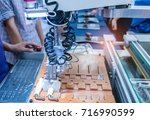 man is controlling robotic arms.... | Shutterstock . vector #716990599