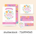 cute baby shower invitation  ... | Shutterstock .eps vector #716994565