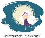 illustration of a kid girl with ... | Shutterstock .eps vector #716997061