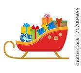 santa sledge  full of gift... | Shutterstock .eps vector #717004699