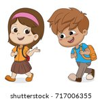 kid walking to school.back to... | Shutterstock .eps vector #717006355