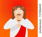 omg jesus is facepalm pop art . ... | Shutterstock .eps vector #717006445
