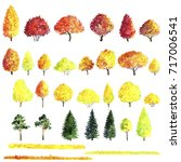 set of autumn trees drawing by... | Shutterstock . vector #717006541