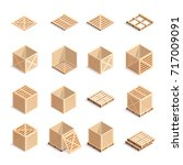 set of isometric wooden boxes... | Shutterstock .eps vector #717009091