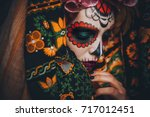 Stock photo closeup portrait of calavera catrina young woman with sugar skull makeup dia de los muertos day 717012451