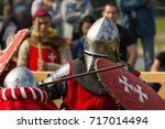 fighting knights at the knight... | Shutterstock . vector #717014494