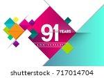 91st years anniversary logo ... | Shutterstock .eps vector #717014704