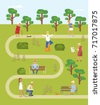 map of the park with walking... | Shutterstock .eps vector #717017875