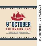 happy columbus day celebration... | Shutterstock .eps vector #717020275