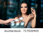 Small photo of Model Acting in Perfume Commercial Ready to Film New Scene - Brand ambassador diva endorsing a product in cosmetics advertising campaigns