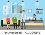 clinic reception  doctor and... | Shutterstock .eps vector #717029341