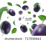 ripe plums with leaves on white ... | Shutterstock .eps vector #717030661