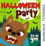 halloween party background with ...   Shutterstock .eps vector #717035815
