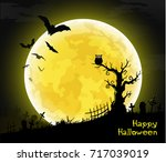halloween card banner. eps10 | Shutterstock .eps vector #717039019