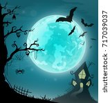 halloween card banner. eps10 | Shutterstock .eps vector #717039037