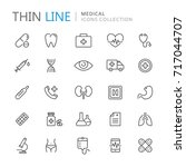 collection of medical thin line ... | Shutterstock .eps vector #717044707