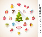 set of flat christmas icons.... | Shutterstock .eps vector #717044725