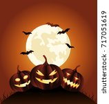 halloween party background with ... | Shutterstock .eps vector #717051619